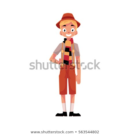 Karikatur Lederhosen Junge Illustration Kinder Stock foto © cthoman