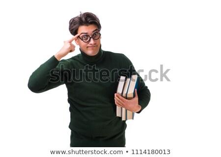 Nerd jungen Studenten Pfund isoliert weiß Stock foto © Elnur