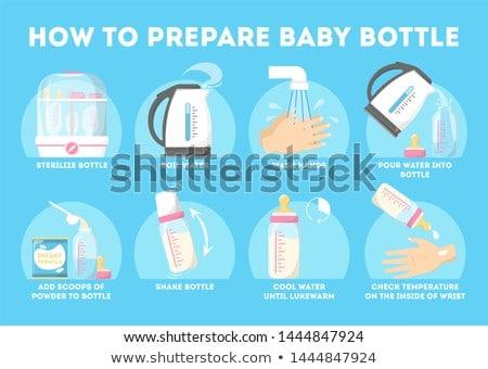 Vector cartoon baby fles geïsoleerd hand Stockfoto © nickylarson974