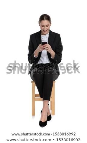fiatal · női · ír · szöveges · üzenet · fehér · arc - stock fotó © wavebreak_media