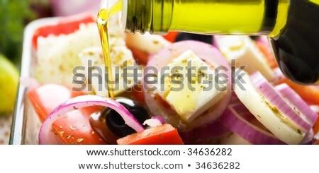 Olie stream salade groene olijfolie kok Stockfoto © tilo