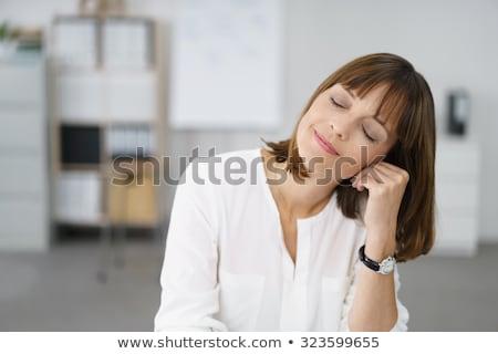 Memnun kadın gözleri kapalı vektör dizayn örnek Stok fotoğraf © RAStudio