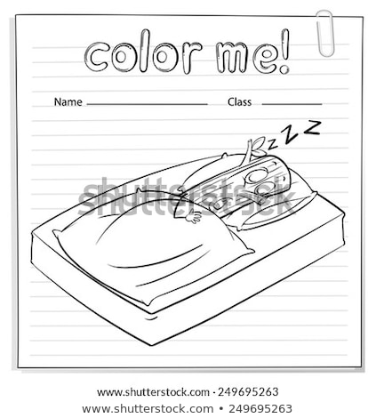 A color me worksheet with a log sleeping Stock photo © bluering