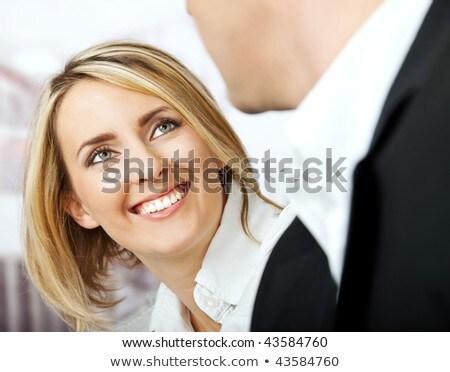 Portre güzel genç iş kadını kâğıt eller Stok fotoğraf © Traimak