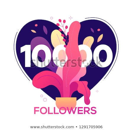 10 000 followers banner - modern flat design style illustration Stock photo © Decorwithme