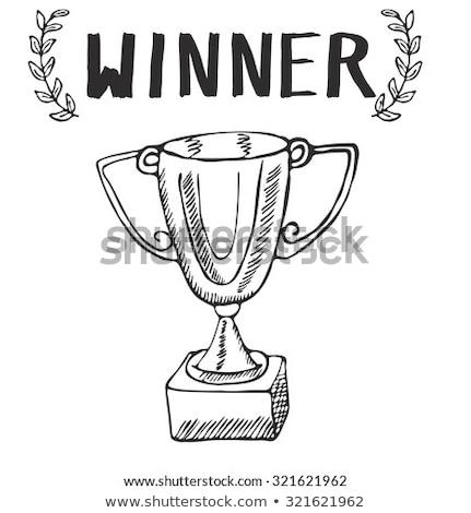 スケッチ · 勝者 · トロフィー · 実例 · 白 · デザイン - ストックフォト © rastudio