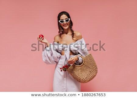 şaşırmış mutlu esmer kadın elbise güneş gözlüğü Stok fotoğraf © deandrobot