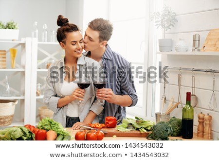 loving couple is preparing the proper meal Stock photo © choreograph