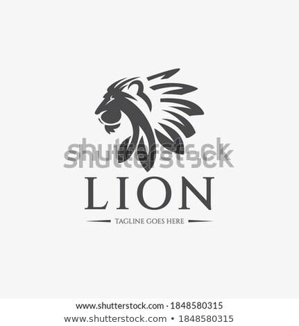 Lion With Leaves As Mane Mascot Stock photo © patrimonio
