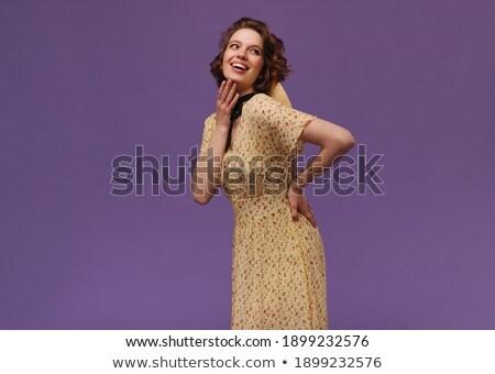 Moda model kız yalıtılmış sarı Stok fotoğraf © serdechny