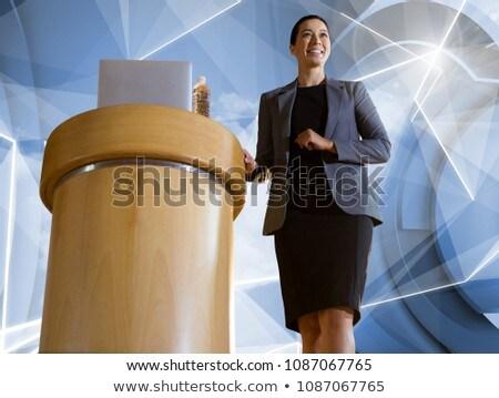 Empresária pódio conferência futurista formas Foto stock © wavebreak_media
