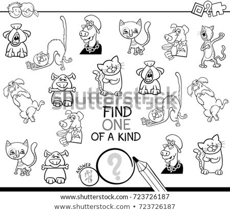 one of a kind game with comic cats color book page Stock photo © izakowski