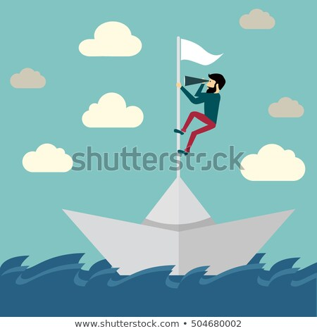 Stockfoto: Businessman Sailing In Stormy Papers Sea