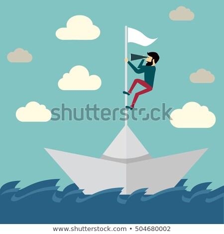 Zakenman zeilen stormachtig papieren zee verloren Stockfoto © nomadsoul1