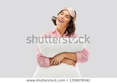 happy young woman in pajama and eye sleeping mask Stock photo © dolgachov