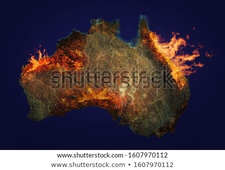 Kilátás Ausztrália űr rettenetes tűz elemek Stock fotó © olira