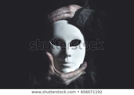 Man in black carnival mask, anonymity concept on white Stock photo © evgeny89