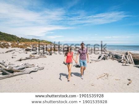 Casal caminhada praia de mãos dadas romântico Nova Zelândia Foto stock © Maridav