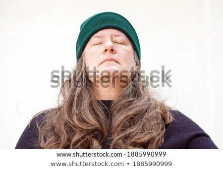vrouw · witte · cap · Blauw · wol · trui - stockfoto © imarin