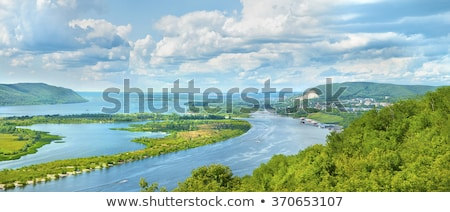 beach on the volga river with mountain views stock photo © butenkow