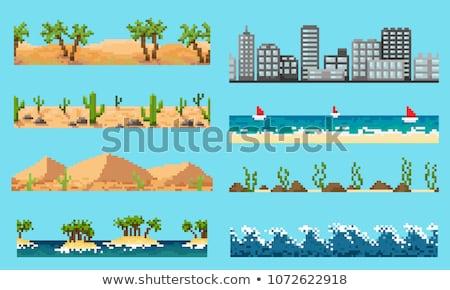 Pixeles hullám szürke absztrakt illusztráció vektor Stock fotó © derocz