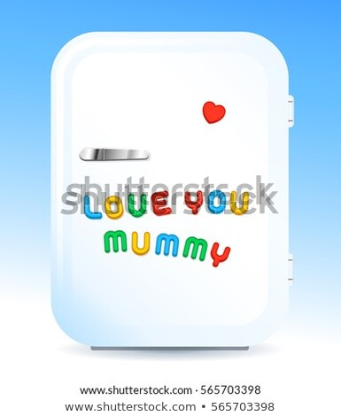 Fridge with letter magnets sign love you mummy Stock photo © adrian_n