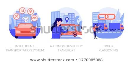 Truck platooning concept vector illustration. Stock photo © RAStudio