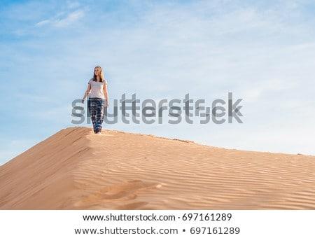 mulher · jovem · caminhada · deserto · belo · sorrir · paisagem - foto stock © galitskaya
