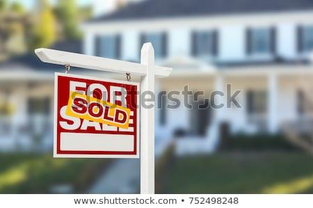 Ház eladva felirat modell otthon játék Stock fotó © unikpix