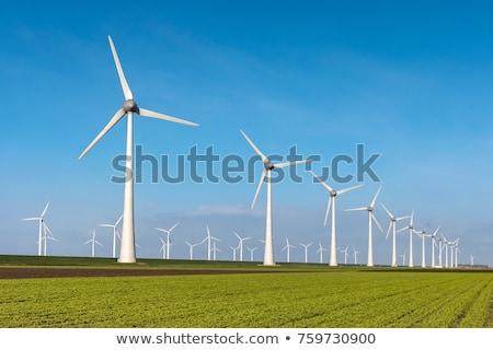 Wiatrak wiatr młyn zielone dziedzinie chmury Zdjęcia stock © ShawnHempel