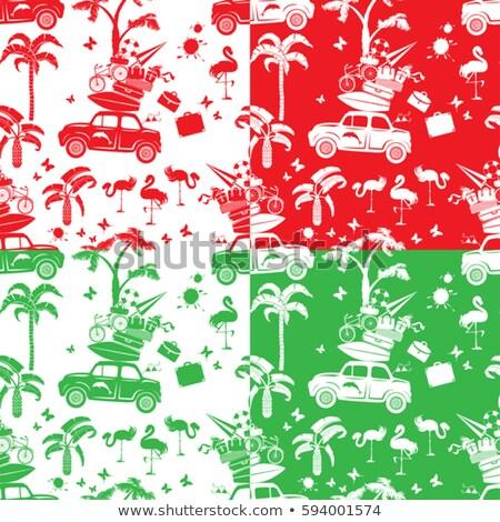 Rosso auto valigie strada poster Foto d'archivio © balasoiu