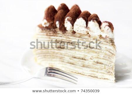 Slice of tiramisu crepe cake Stock photo © Alex9500