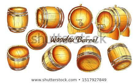 Vintage Wooden Barrel In Different Side Color Set Vector Stock photo © pikepicture