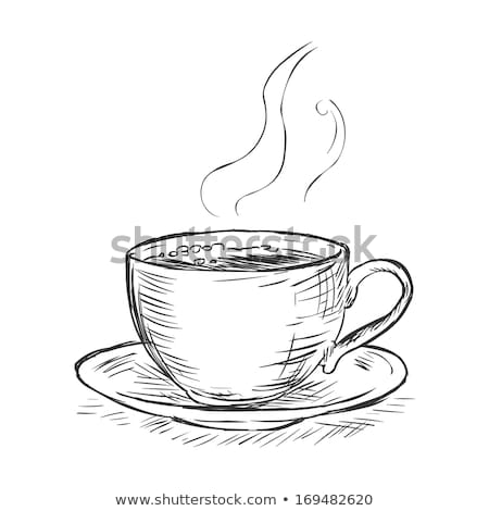 Steaming cup of coffee with white doodles Stock photo © ra2studio
