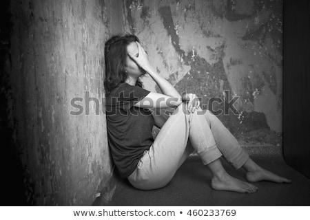 adolescente · seduta · muro · capriccioso · piano · studente - foto d'archivio © ilona75