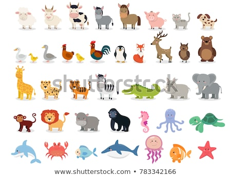 Wild animal cartoon collection isolated background Stock photo © cienpies
