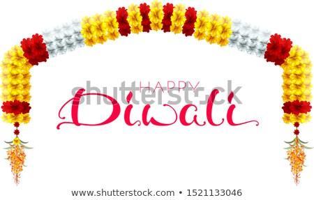 traditional indian mala flower garland festive holiday happy diwali arch flower decoration stock photo © orensila