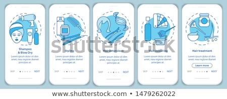 hair styling screen of website hairdresser vector stock photo © robuart