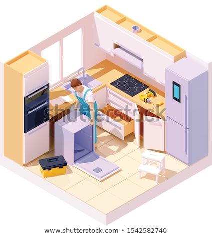 Vektör izometrik teknisyen tamir bulaşık makinesi profesyonel Stok fotoğraf © tele52