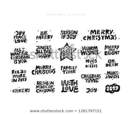 Noel tırnak işareti toplama yalıtılmış siyah vektör Stok fotoğraf © balasoiu