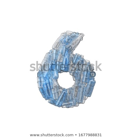 Number six made of plastic waste bottles Stock photo © lightkeeper