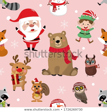 Christmas card with cute elf, snowman, reindeer and squirrel Stock photo © balasoiu