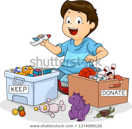 Kid Boy Sort Toys Donate Keep Illustration Stock photo © lenm