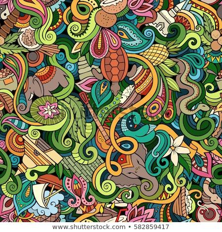 Cartoon cute doodles hand drawn Indian culture seamless pattern Stock photo © balabolka