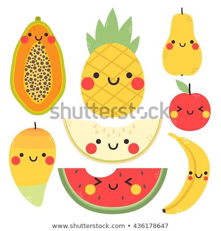 Ananas cartoon sticker mooie bes meisje Stockfoto © barsrsind