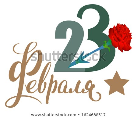 Russian Defender of Fatherland Day February 23 Red carnation, star shape and lettering text translat Stock photo © orensila