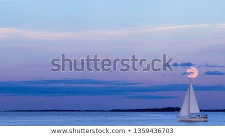 парусника ночь силуэта отражение морем лодка Сток-фото © valkos