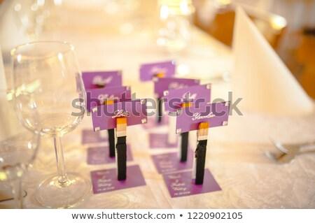 Uwaga karty obiedzie tablicy recepcji ślub Zdjęcia stock © Sandralise