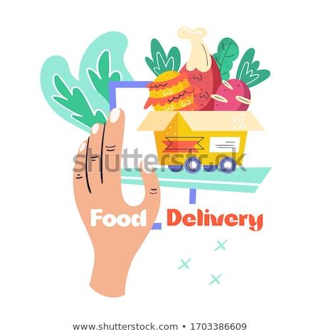 Food delivery. Pineapple, beet, chicken food, salad, box. Stock photo © foxbiz