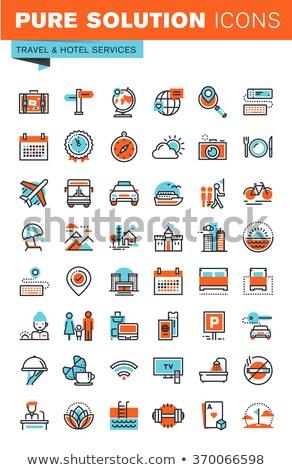 Kirándulás uticél ikon vektor skicc illusztráció Stock fotó © pikepicture